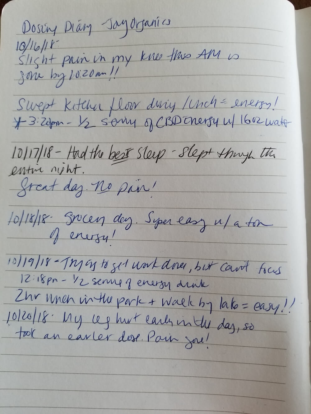 Journal Entries when dosing with Joy Organics CBD Oil Tincture